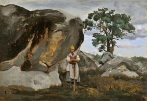 Camille Corot: Campesina en el bosque de Fontainebleau, óleo sobre papel pegado a lienzo, 26,5 x 39,1 cm (Musée d'Art et d'Archéologie, Senlis)
